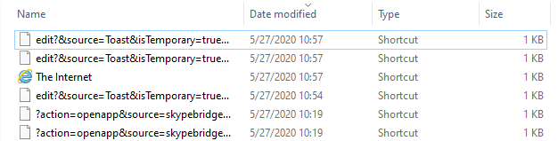 A screenshot of recently modified files in Windows