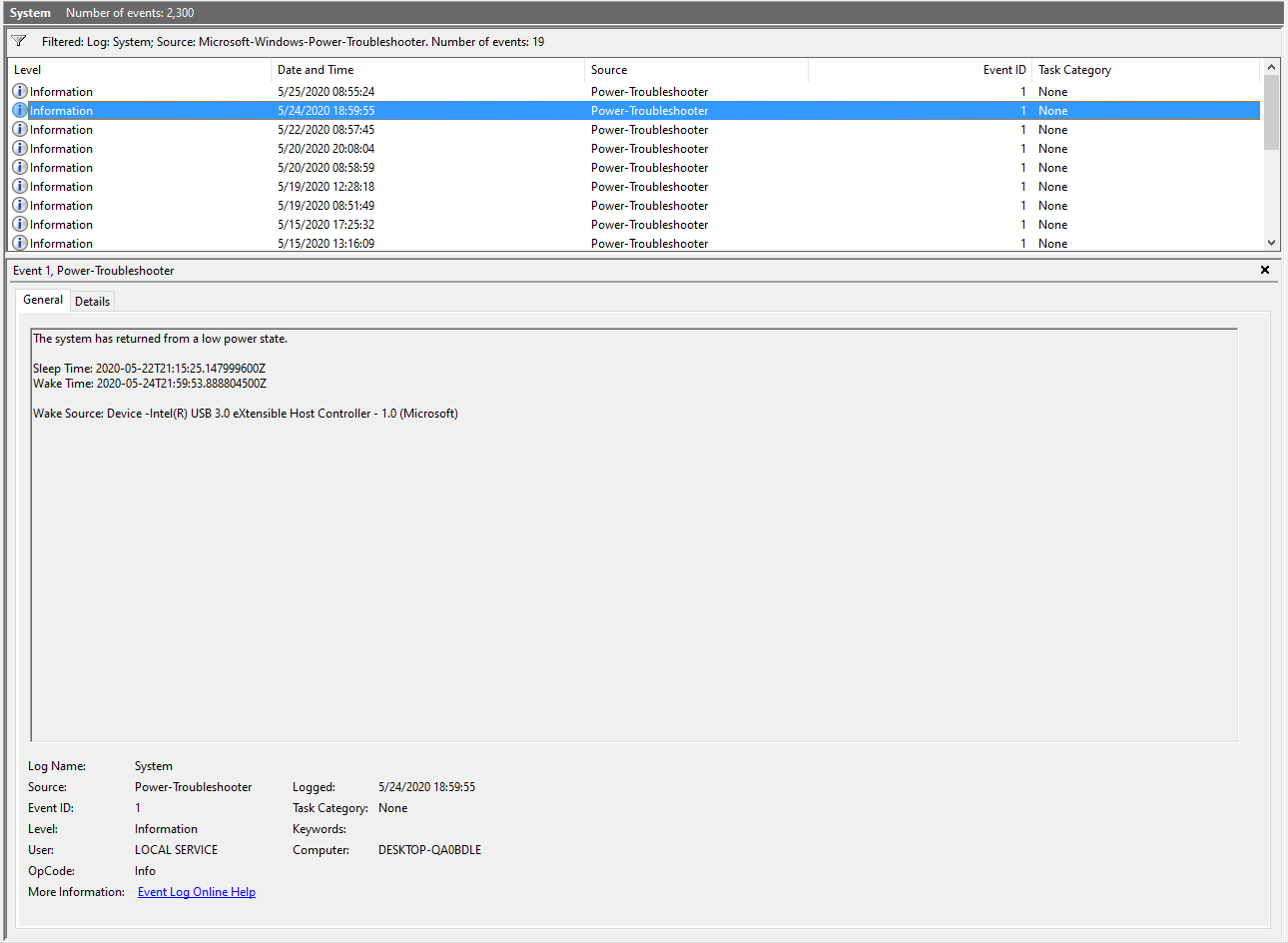 The center panel of Windows Event Viewer. A Power-Troubleshooter event is highlighted