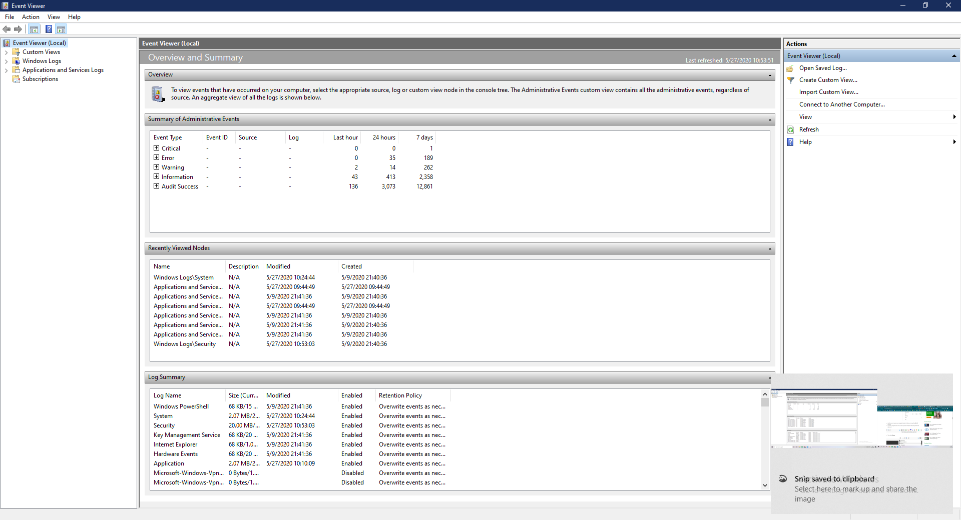 An overview of the Windows Event Viewer dashboard